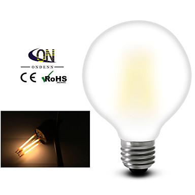 billige Elpærer-1pc 8 W LED-glødepærer 2800-3200 lm E26 / E27 G95 8 LED perler COB Mulighet for demping Varm hvit 220-240 V 110-130 V / 1 stk. / RoHs