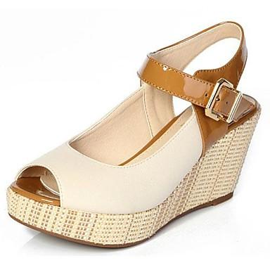 Zapatos Plataformapunta Piel Para Abierta Mujeres Tacón Con Cuña SandaliasVerdeblanconaranja XZukTPOi