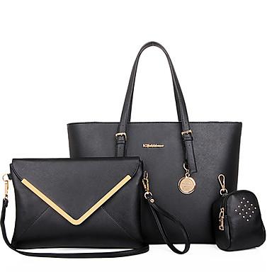 Kadın's Çantalar PU Tote Çanta Setleri Omuz çantası 3 Adet Çanta Seti için Alışveriş Günlük Resmi Ofis ve Kariyer Tüm Mevsimler Siyah Bej