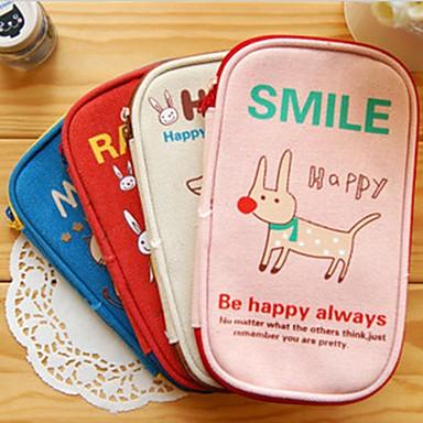 schattige dieren doek potlood tas (willekeurige kleur)