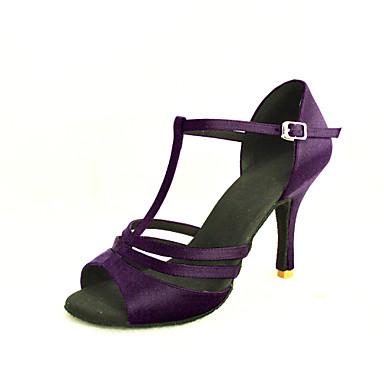 baratos Sapatos de Salsa-Mulheres Sapatos de Dança Cetim Sapatos de Dança Latina / Sapatos de Salsa Presilha Sandália Salto Personalizado Personalizável Amêndoa / Transparente / Bronze / Couro
