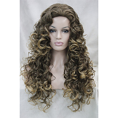 Synthetic Wig Curly Layered Haircut Waterfall Brown Women's Full Lace Carnival Wig Halloween Wig Black Wig Medium Synthetic Hair Daily