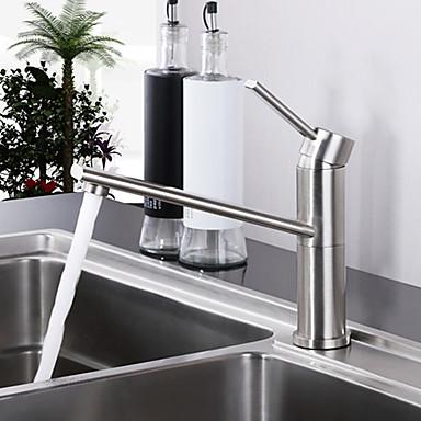 Nykyaikainen Bar / Prep Pöytäasennus Touch/Touchless Keraaminen venttiili Yksi reikä Yksi kahva yksi reikä Harjattu, Kitchen Faucet