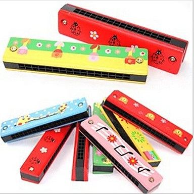 Недорогие Фокусы-16 отверстие красочные деревянные гармоника / детские образовательные игрушки