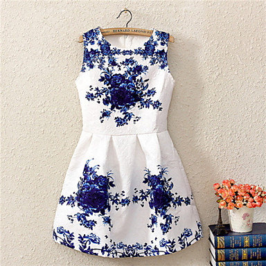Women's Vintage/Sexy/Print/Party Inelastic Sleeveless Above Knee Dress (Cotton Blends)