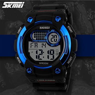 SKMEI Erkek Dijital saat / Spor Saat Alarm / Takvim / Kronograf Kauçuk Bant İhtişam Siyah