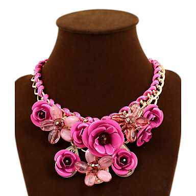 Women's Plaited Statement Necklace - Roses, Flower European, Statement, Festival / Holiday Green, Blue, Pink Necklace For Party, Special Occasion, Birthday