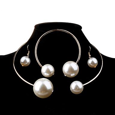 levne Dámské šperky-Dámské Perla Sady šperků Koule dámy Módní Elegantní Pro nevěstu Velkoformátové Na každý den Perly Napodobenina perel Náušnice Šperky Stříbrná / Zlatá Pro Svatební Párty Narozeniny Zásnuby Dar Denní 1