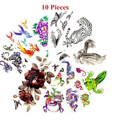 10 Non Toxic Pattern Waterproof Animal Series Flower Series Others Tattoo Stickers