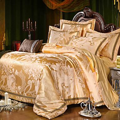 Jacquard de lujo rey algod n de seda queen size 4pcs juego de cama edred n almohada textiles - Edredon de seda ...