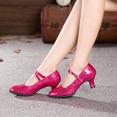 Dame Moderne Paljett Høye hæler Spenne Kubansk hæl Svart Rød Blå Fuksia 5,5 cm Kan ikke spesialtilpasses