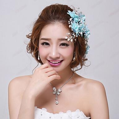 Damskie Dla dziewczynek Kwiatowy Kwiat Kwiaty Kryształ Imitacja pereł Materiał Stop Ocean Blue