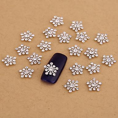 10PCS Silver Nail Art Jewelry Snowflake Clear Rhinestones Aryclic Nail Tips Decorations Nail Art Glitters for Nails
