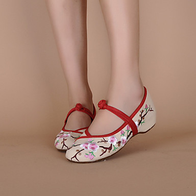 Women's Shoes Canvas Spring / Summer Embroidered Shoes Flat Heel Buckle Cream / Black