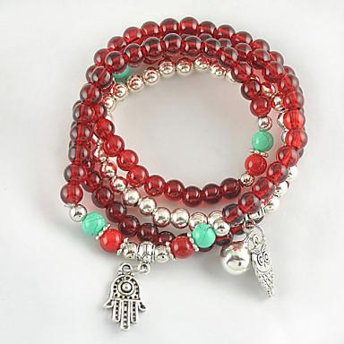 Women's Bracelet of Arrival Synthetic Garnet Stone and Tibetan Silver Multilayer
