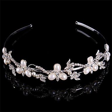 abordables Bijoux de Cheveux-Femme Perle Argent pur Strass Casque-Mariage Serre-tête
