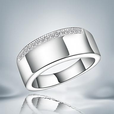 Damen Bandring - Sterling Silber, Zirkon, Kubikzirkonia Modisch, Erklärung Eine Größe Silber Für Party