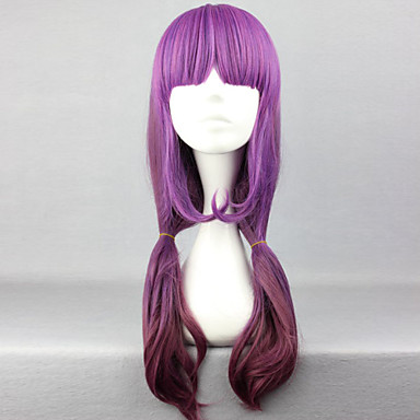 Women Synthetic Wig Long Straight Purple Costume Wig
