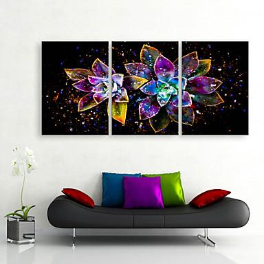 E-HOME® Stretched LED Canvas Print Art Bright Flowers LED Flashing Optical Fiber Print Set of 3