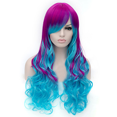 Synthetic Wig Curly / Deep Wave Asymmetrical Haircut Synthetic Hair Natural Hairline Blue Wig Women's Long Capless
