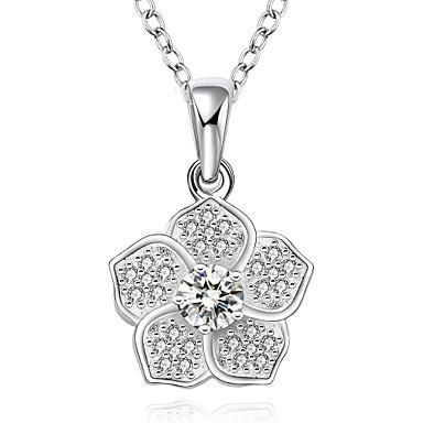 Damen Halsketten Anhängerketten Anhänger Synthetische Edelsteine Sterling Silber Zirkon Kubikzirkonia Modisch Schmuck Für Hochzeit Party
