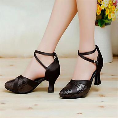 Femme Chaussures Modernes Satin Sandale Boucle Talon Bottier Non Personnalisables Chaussures de danse Argenté / Doré / Violet