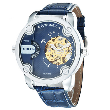 Men's Round Dial Leather Strap Automatic Mechanical Waterproof Watch(Assorted Colors) Cool Watch Unique Watch Fashion Watch