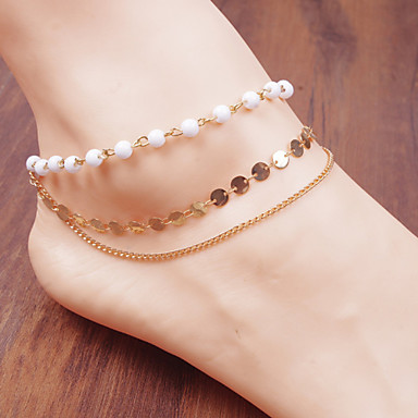 Pearl Circle Chain Anklet Bracelet Body Ring Foot Beach Jewelry (White,1 pcs)