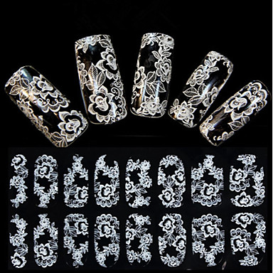 1 pcs 3D Nails Nagelaufkleber Spitze-Aufkleber Nagel Kunst Maniküre Pediküre Blume / Hochzeit / Modisch Alltag / Spitzen-Aufkleber / 3D Nagel Sticker