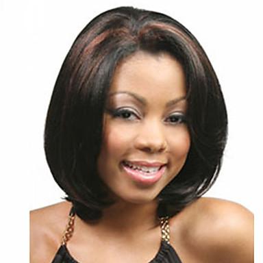 Syntetiske parykker Rett Bobfrisyre / Kort bob Syntetisk hår Bob med midtskill / Afroamerikansk parykk Svart Parykk Dame Kort Lokkløs Svart