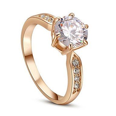 Kadın's İfadeli Yüzükler Kristal Klasik Simüle Elmas alaşım Mücevher Düğün Parti Günlük