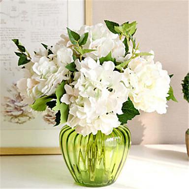 zes witte hygrangeas kunstbloemen met vaas