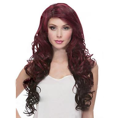 Uzun saç peruk karıştırma, yeni avrupa ve amerikan şarap kırmızı renk