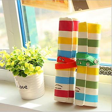 trzy kolorowe pościel paskiem Torba drewna ołówek (losowy kolor)