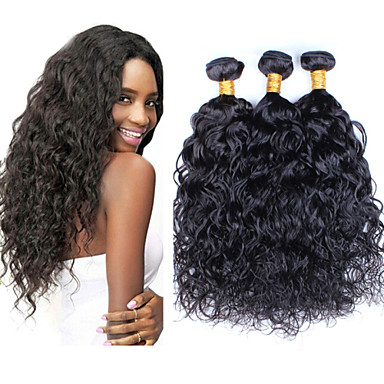 Echt haar Peruaans haar Menselijk haar weeft Watergolf Haarextensions 3-delig Natuurlijk Zwart