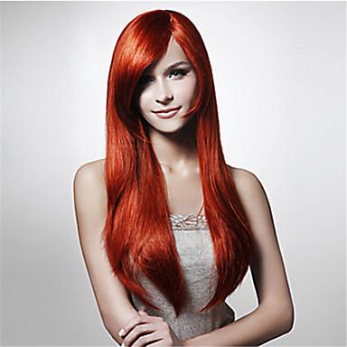 Peruki syntetyczne Prosto / Water Wave Fryzura asymetryczna Włosy syntetyczne Naturalna linia włosów Czerwony Peruka Damskie Długo Bez czepka