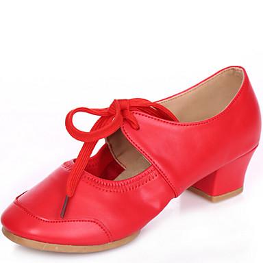 Női Tánccipők Bőr Sportcipő Fűző Alacsony Szabványos méret Dance Shoes Piros / Bézs / Fukszia