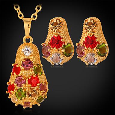 U7® Cute Multicolor Rhinestone Pendant Necklace 18K Gold/Platinum Plated Fancy Stud Earrings for Women Jewelry Set
