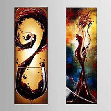 Kézzel festett Szabadidő Függőleges Panorámás,Modern Két elem Vászon Hang festett olajfestmény For lakberendezési