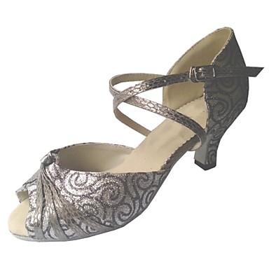 Férfi / Női Latin cipők / Salsa cipők / Standard cipők Csillogó flitter Szandál Személyre szabott sarok Személyre szabható Dance Shoes Szürke / Otthoni
