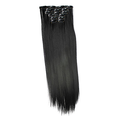 6pcs/lot 24 Inch 140g Long Synthetic Hair Piece Straight Clip In Hair Extensions with 16 Clips