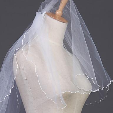 Свадебные вуали Два слоя Фата до локтя Закруглённый край 23,62 В (60 см) Тюль Белый Цвет слоновой кости