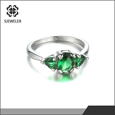 Duże pierścionki sztuczna Emerald Miłość Modny Cyrkonia Powłoka platynowa Biżuteria Na Ślub Impreza 1szt