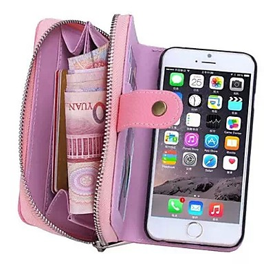 Case For Apple iPhone 8 iPhone 8 Plus iPhone 6 iPhone 6 Plus Card Holder Wallet Pouch Bag Solid Color Hard Genuine Leather for iPhone 8