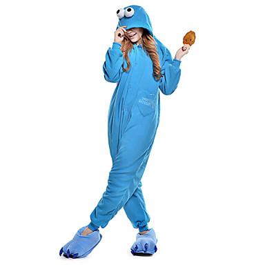 Erwachsene Kigurumi-Pyjamas Plätzchen Anime Pyjamas-Einteiler Polar-Fleece Blau Cosplay Für Herren und Damen Tiernachtwäsche Karikatur Fest / Feiertage Kostüme