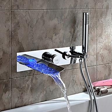 Moderne Montage mural Jet pluie LED with  Soupape céramique Deux poignées quatre trous for  Chrome , Robinet de baignoire