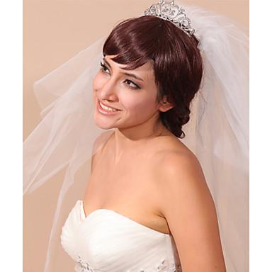 Véus de Noiva Três Camadas Peça para Cabeça com Véu Borda Lápis Tule Branco