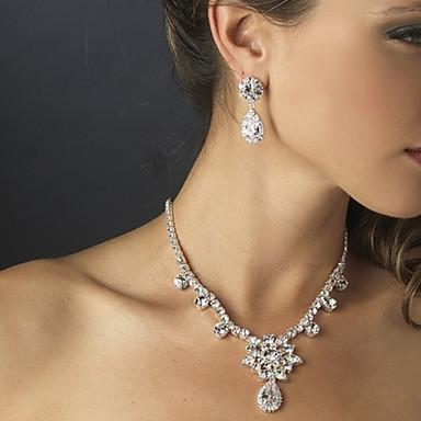 Vintage Flashion Women's Silver/Alloy Wedding/Party Jewelry Set Flower Necklace Earring Drop Diamond For BridalImitation Diamond Birthstone