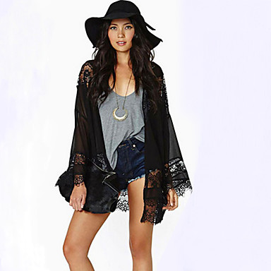 Women's Lace Black Asymmetrical Long Sleeve Lace