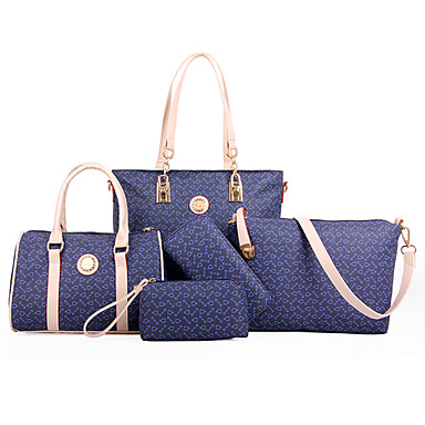 Women's Bags PU Tote Bag Set Shoulder Bag 5 Pieces Purse Set for Shopping Casual Formal Office & Career All Seasons White Brown Blue Pink